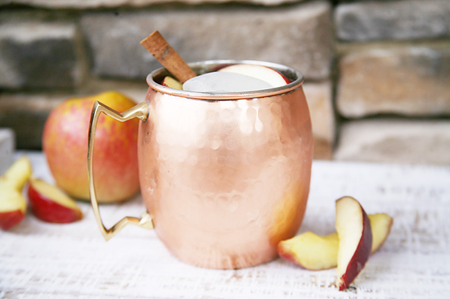 Apple Cider Moscow Mule recipe. Great low calorie holiday and fall cocktail option.