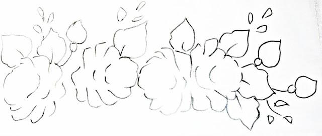 risco pintura em tecido pano de prato com rosas