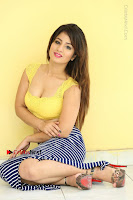 Cute Telugu Actress Shunaya Solanki High Definition Spicy Pos in Yellow Top and Skirt  0202.JPG