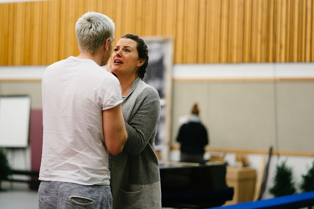 Rehearsals for Opera North's production of Put's Silent Night, November 2018 - Rupert Charlesworth as Nikolaus Sprink and Máire Flavin as Anna Sørensen - Photo Tom Arber