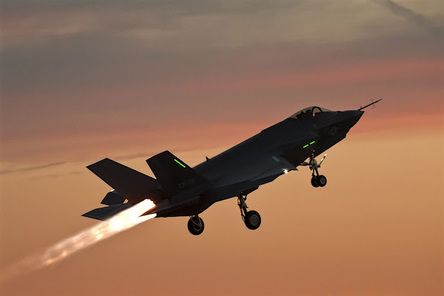 f-35 full throttle thrust sunset