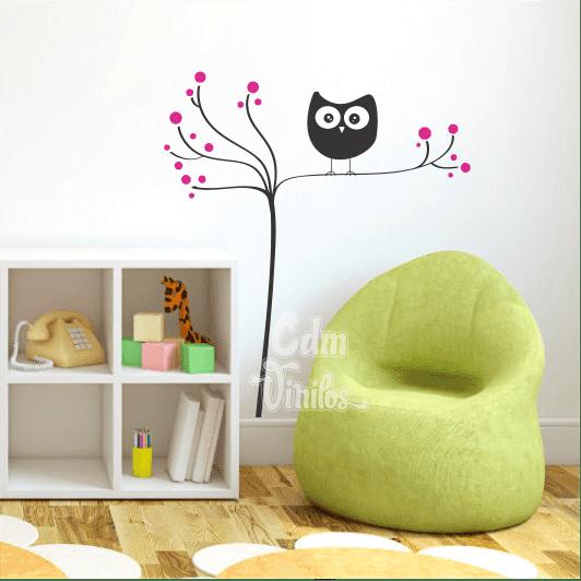 vinilo decorativo infantil buhos rama