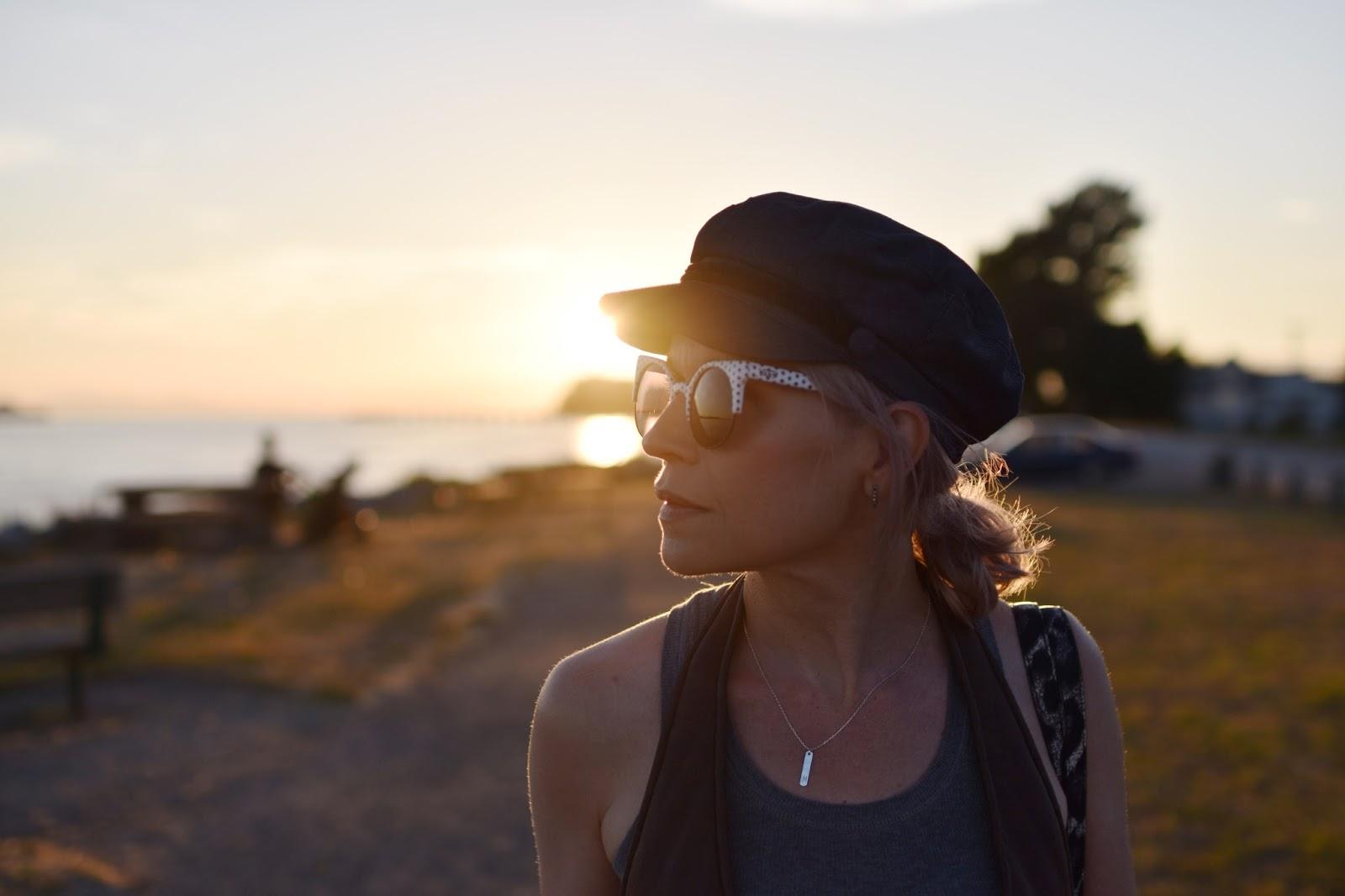 Monika Faulkner outfit inspiration - Vans polka-dot sunglasses, Lucky Brand initial pendant