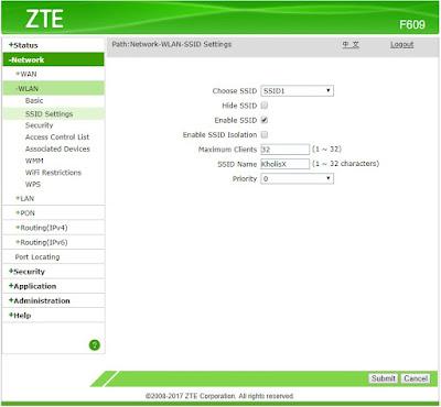 Mengganti SSID ZTE F609