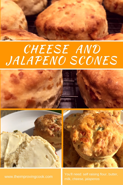 Cheese and Jalapeno Scones- 4 different images with text
