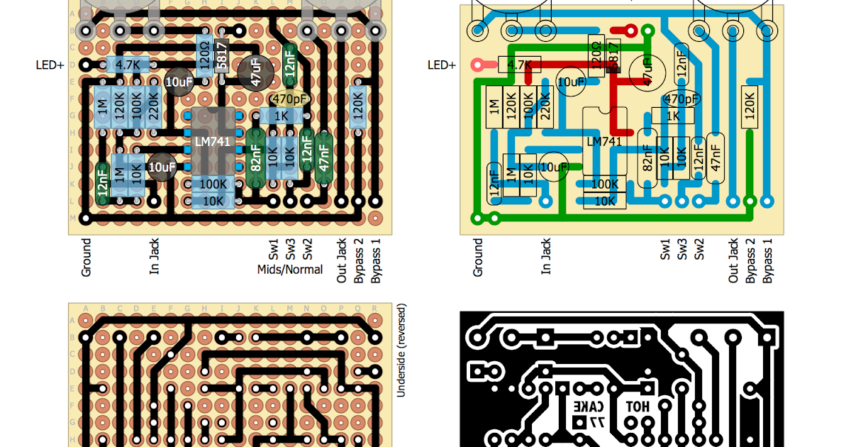 Perf and PCB Effects Layouts: Crowther Audio '77 Hot Cake