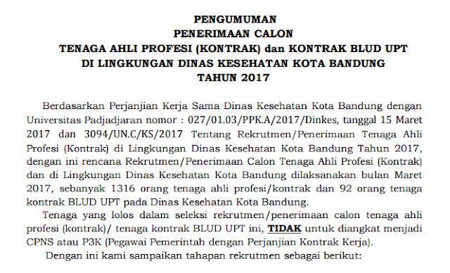 Rekrutmen Besar-Besaran - Pegawai BLUD Dinas Kesehatan Kota Bandung (1.408 Formasi)