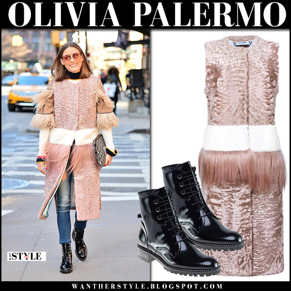 Olivia Palermo in pink fur cara mila gilet, skinny AG jeans and black patent ankle boots dior rebelle street style march 26