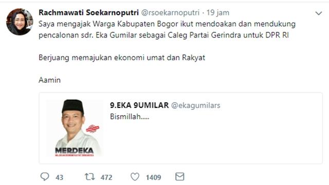 Rachmawati Soekarno Ajak Warga Bogor Mendukung Eka Gumilar Maju ke Senayan