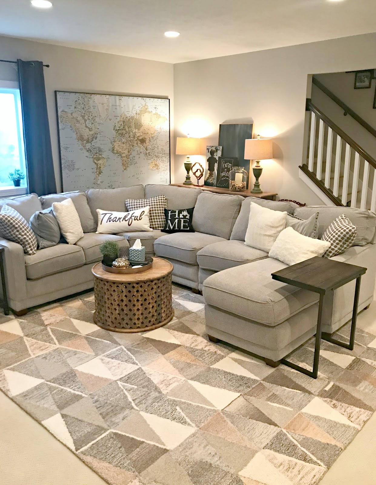Large sectional with chaise in basement family room