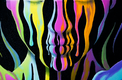 Closeup of Painting of a woman with her eyes closed, arms crossed and hands making peace signs. Surreal image made of dripping neon acrylic paint.