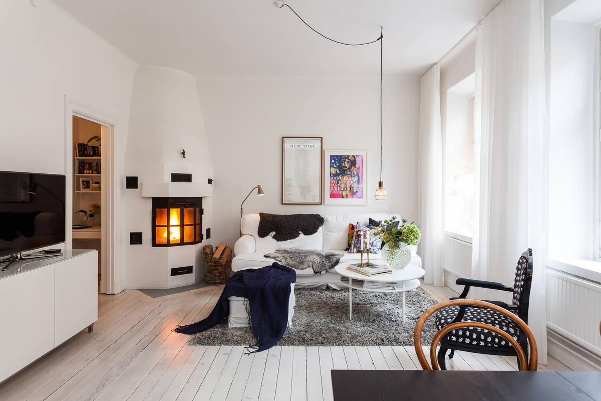 Una preciosa chimenea en un estupendo piso de estilo - Chimeneas para pisos ...