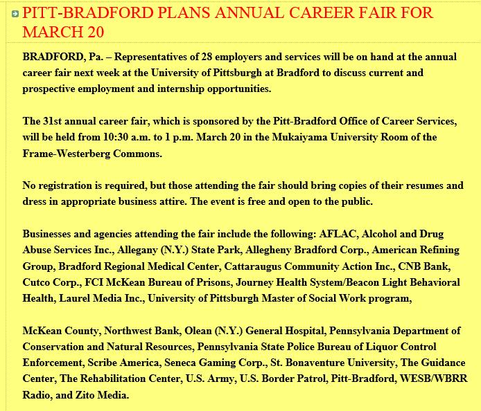 Cameron County PA News: Upcoming Job Fairs
