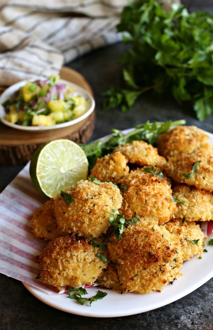 Recipe for crispy potato balls stuffed with cheese and chorizo.