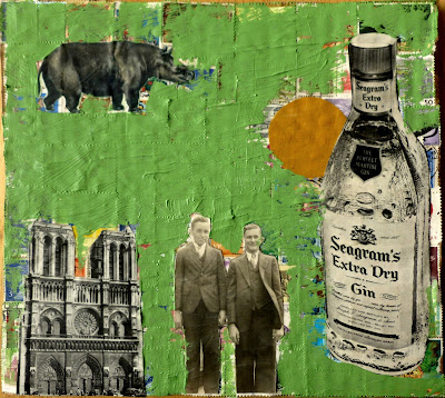 ancient mammal Seagram's Gin bottle vintage ad flag vintage photo Notre Dame cathedral Fluxus Dada Collage