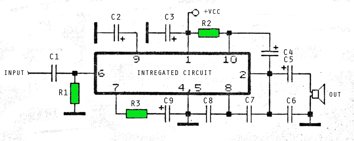 6 - 12 volt audio amplifier circuits