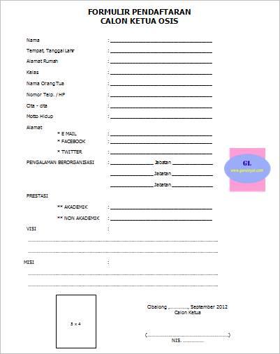 gambar formulir pendaftaran calon ketua osis