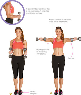 women's health - DUMBBELL BENT ARM SIDE RAISE