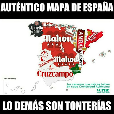 mapa España, cerveza