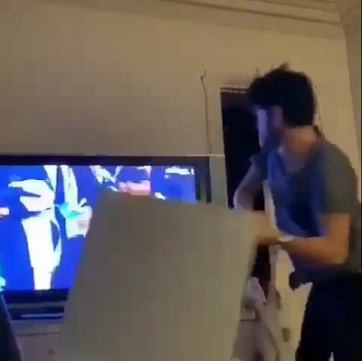 PSG 1 - 3 Man Utd: The Moment A PSG Fan Shattered His Television After Loss (VIDEO)