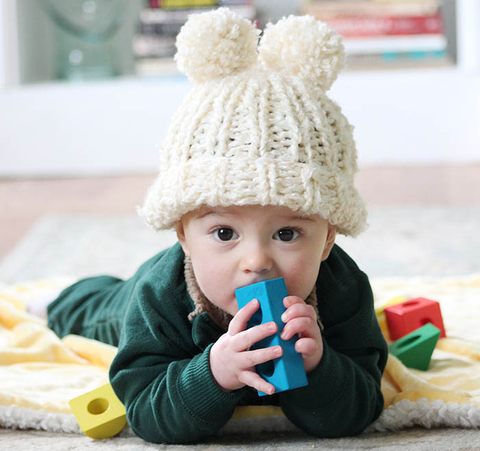 Lion Brand Homespun Easy Circular Needle Baby Hat Knitting Pattern