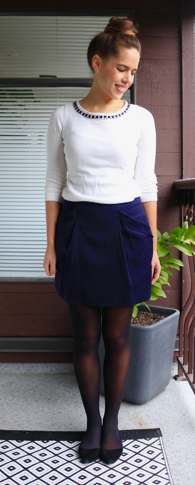 Jules in Flats - Embellished Collar Sweater & Mini Skirt