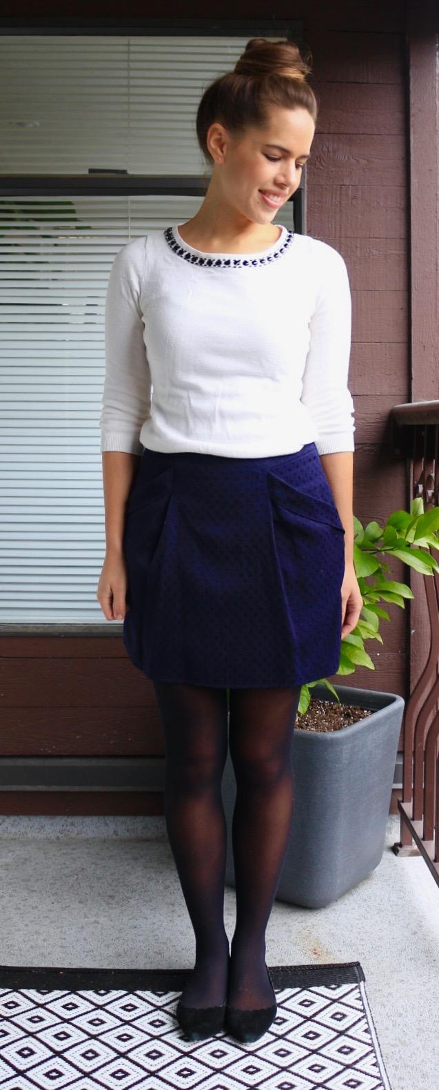 Jules in Flats - Embellished Collar Sweater & Mini Skirt