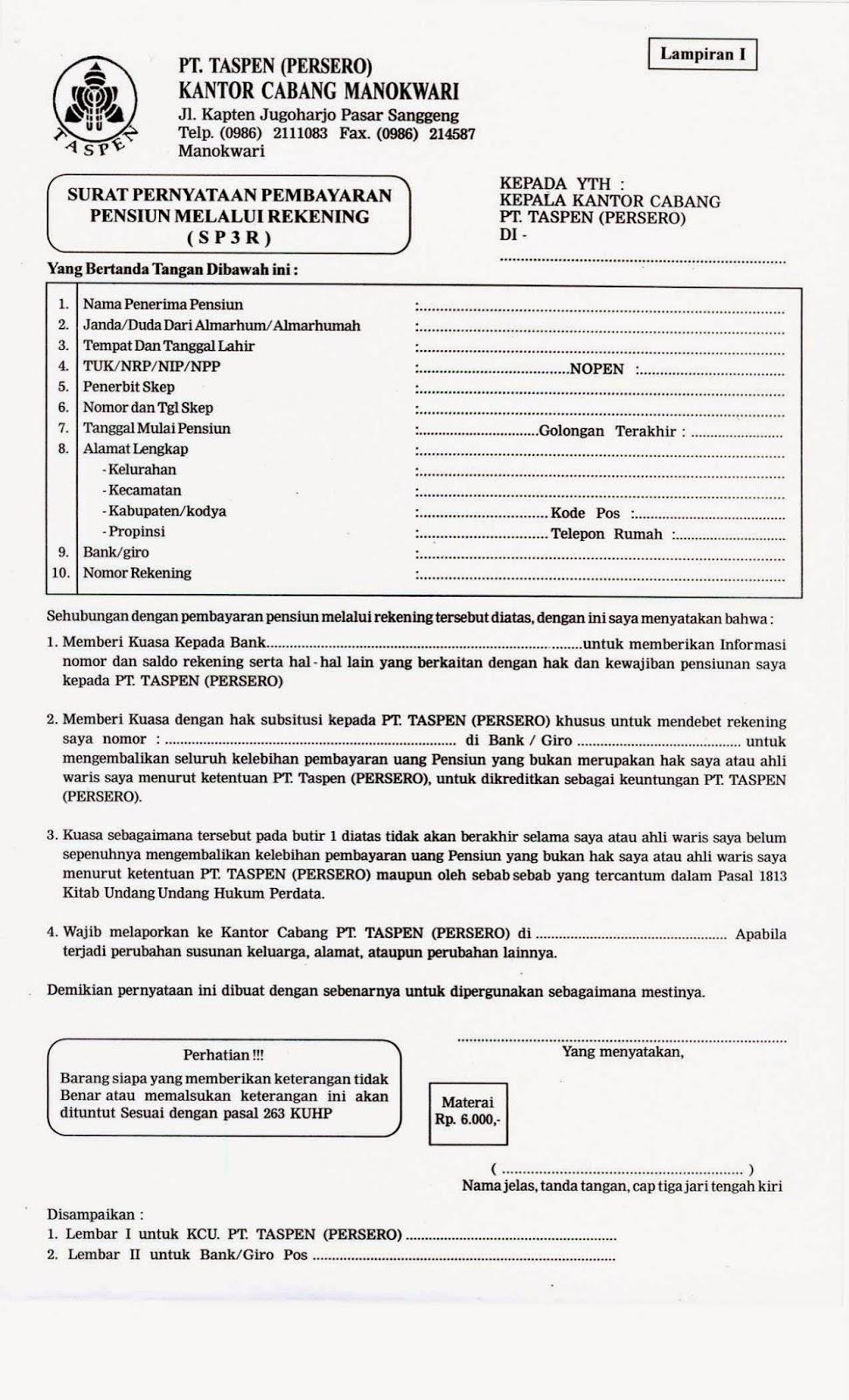 Contoh Pengisian Surat Kuasa Ahli Waris Taspen
