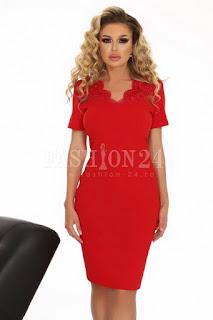 Rochie marime mare eleganta in nuante de rosu cu broderie