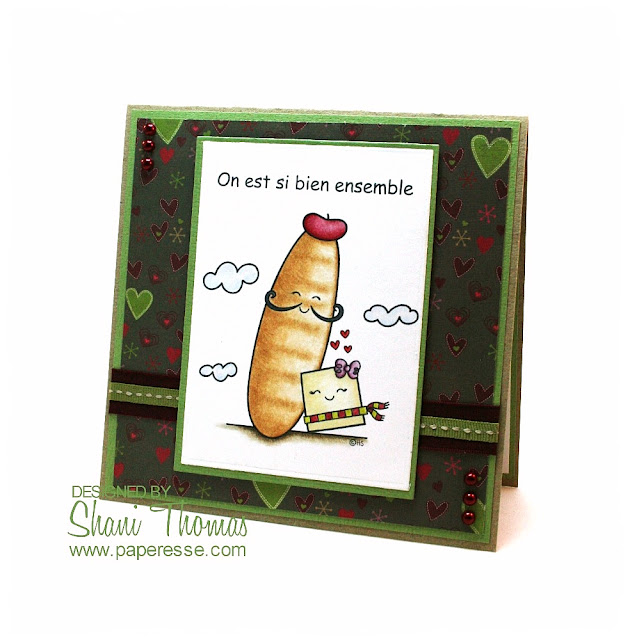 French Valentine's Day card idea, featuring 2 Cute Ink's French Bread and Butter digital stamp, design by Paperesse.