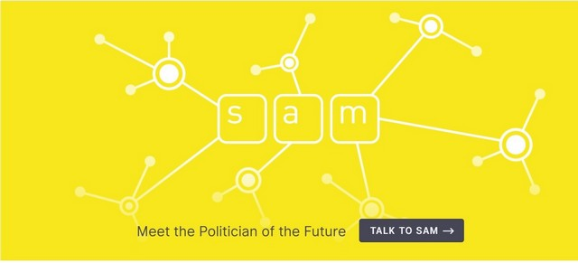sam virtual politician logo with yellow background