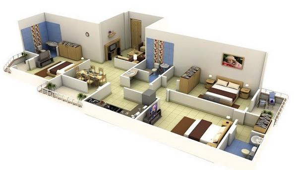 Desain denah Rumah 3 Kamar Ukuran 6x12 dengan konsep minimalis modern