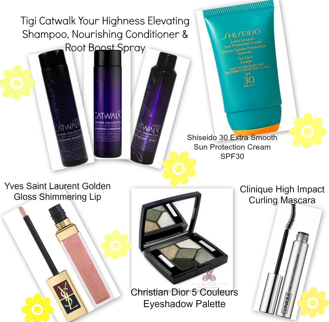 Tigi Catwalk Your Highness haircare products, Shiseido 30 Extra Smooth Sun Protection Cream SPF30, Yves Saint Laurent Golden Gloss Shimmer Lip, Christian Dior 5 Couleurs Eyeshadow Palette, Clinique High Impact Curling Mascara