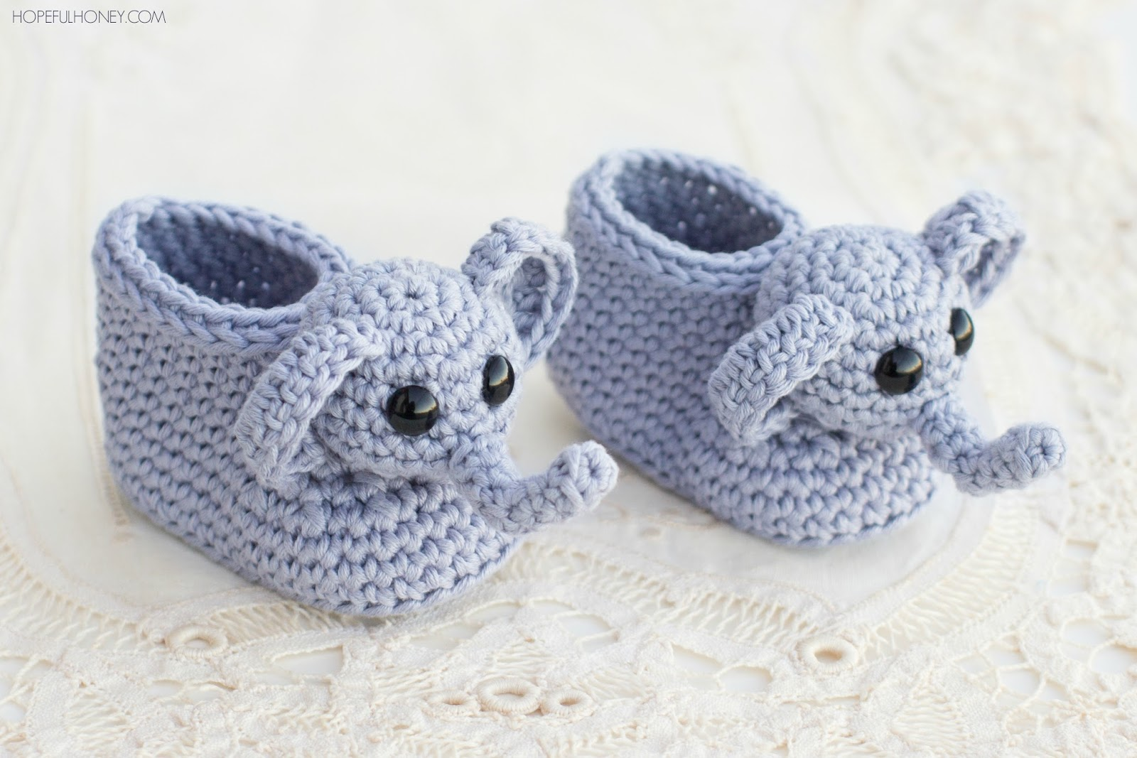 Crochet Baby Booties Pattern For Free : Hopeful Honey Craft, Crochet, Create: Ellie The Elephant ...