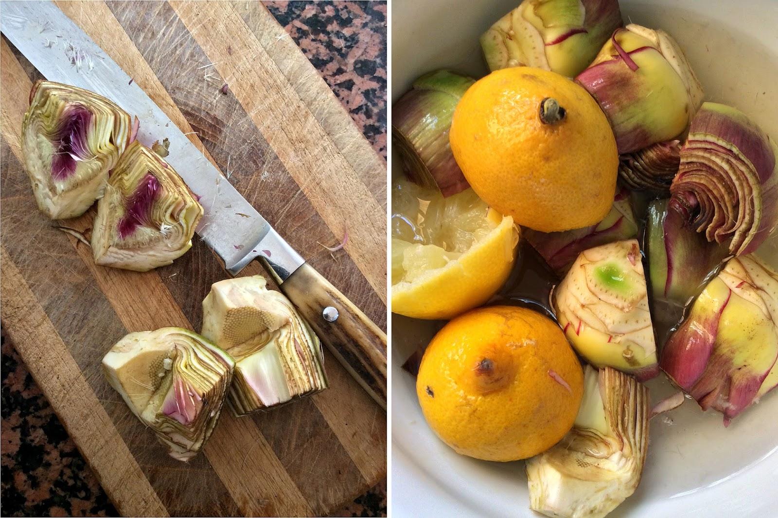 gamberi e carciofi in insalata