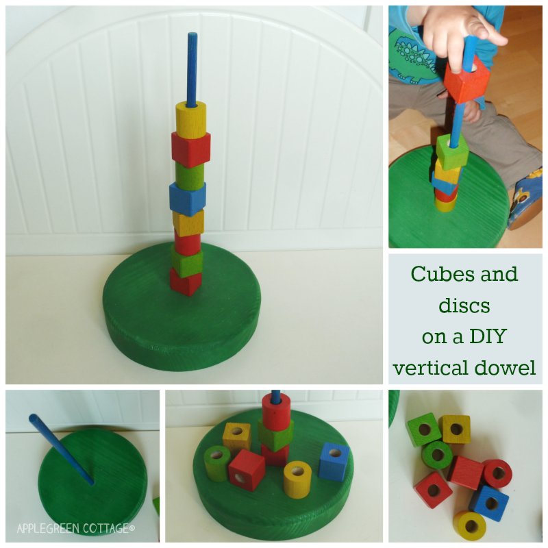 Vertical dowel with cubes and discs