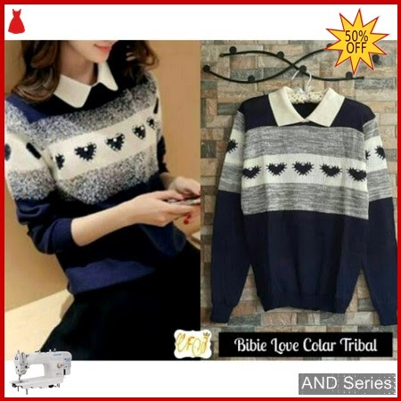AND076 Sweater Wanita Lucu Biebie Love Colar BMGShop