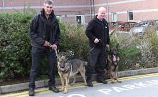 At Derbyshire police two dogs last photo op before they are handed over