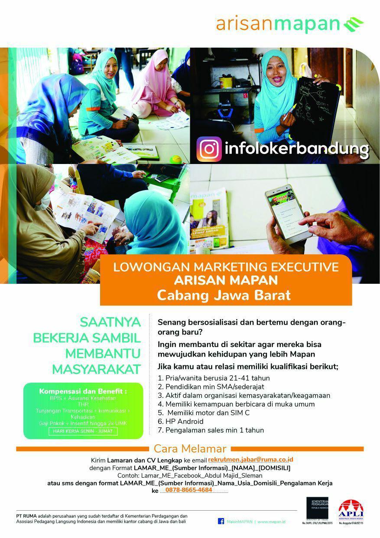 Lowongan Kerja PT. Ruma ( Rekan Usaha Mikro ) Sebagai Marketing Executive Bandung Januari 2018