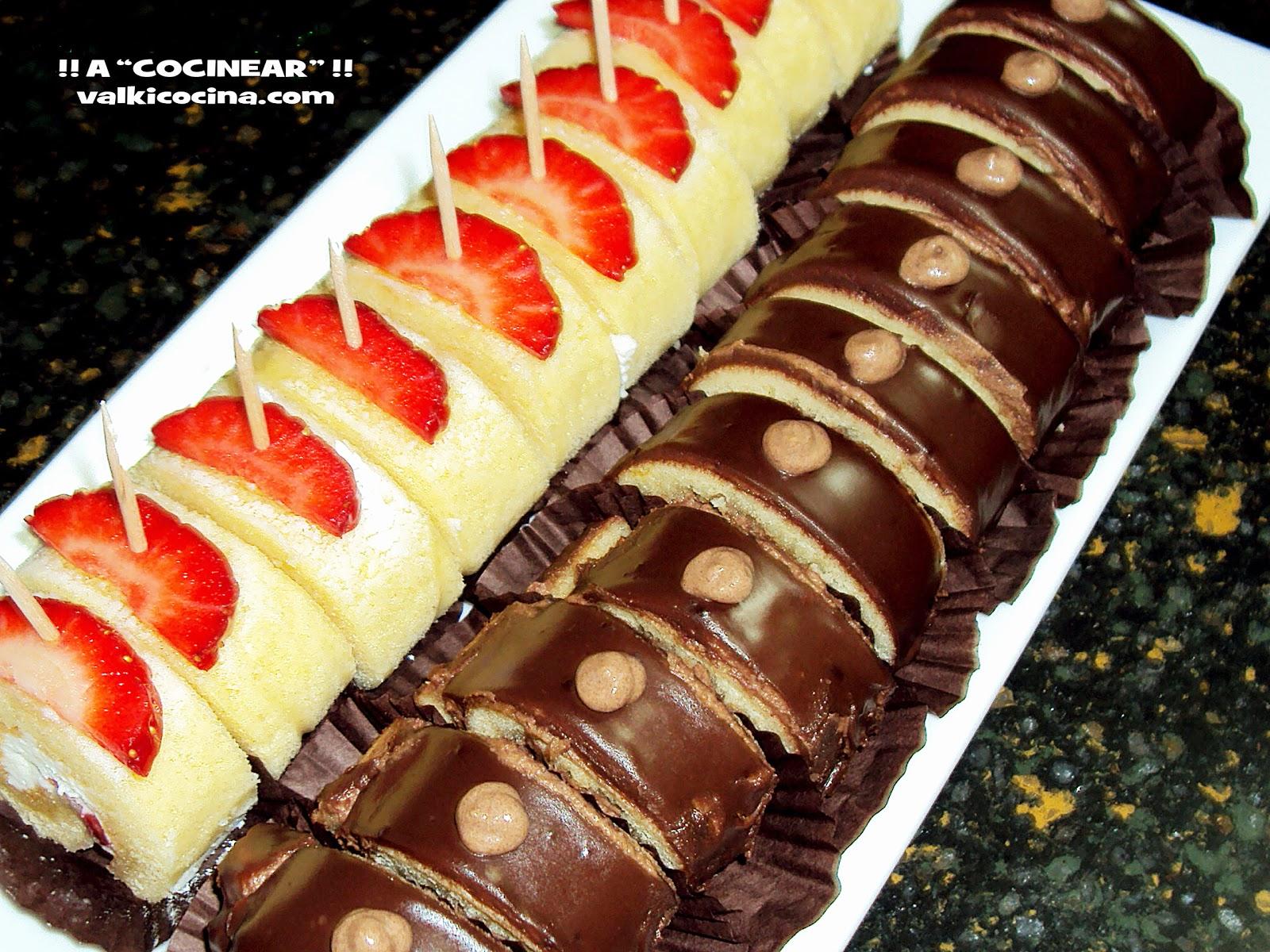 Rollitos de nata-fresas y de trufa-chocolate