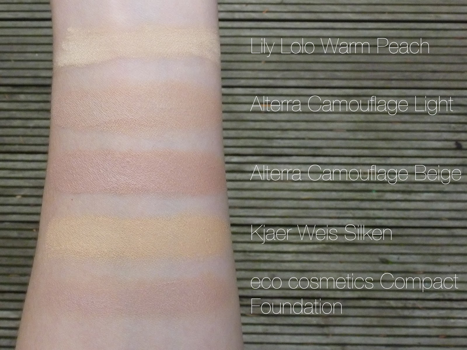 Swatches: Alterra Camouflage, Kjaer Weis + Eco Cosmetics Compact Foundation