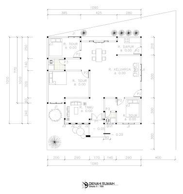 panduan bangunan rumah: denah rumah ukuran 10 x 10 m