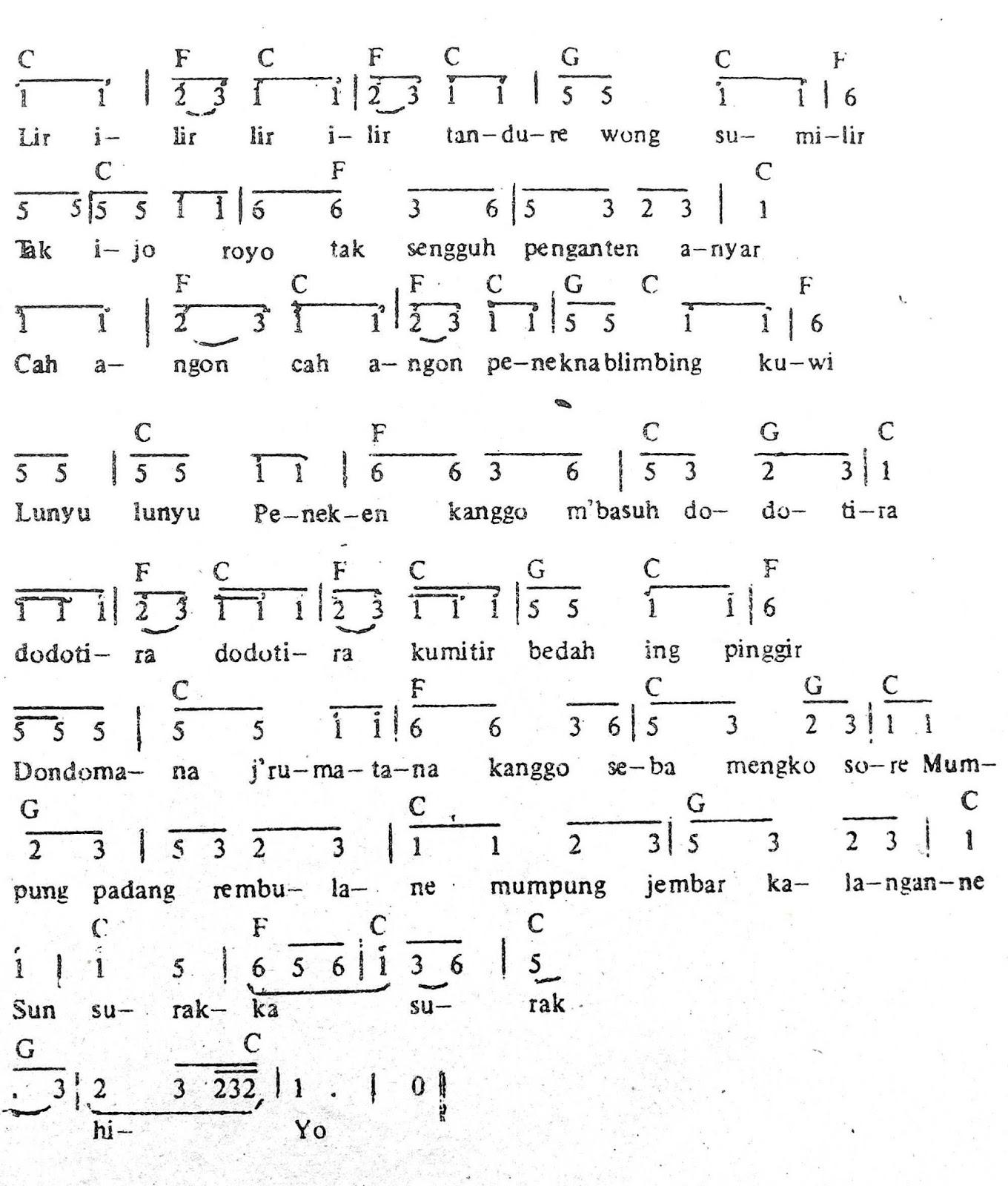 Chord & Arti Lirik Lagu Jawa Tengah: Lir Ilir + Not Angka