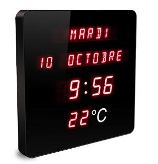 Horloge avec jour, date, mois en toutes lettres pour les seniors et les bureaux