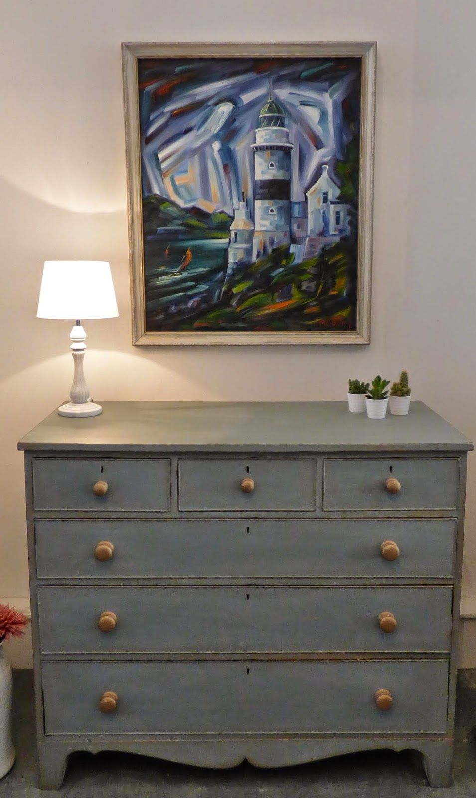 Painted Chest Of Drawers Duck Egg Blue And Gold