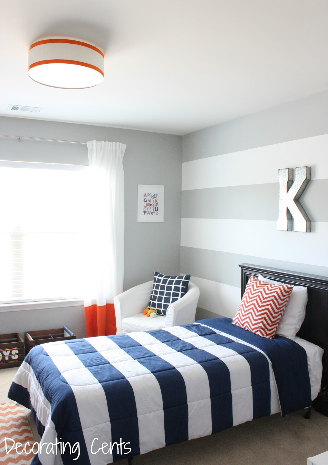 i really wanted to keep the bed espresso i like the dark wood against the lighter gray wall i found this beadboard headboard at big lots - Modern Boy Room