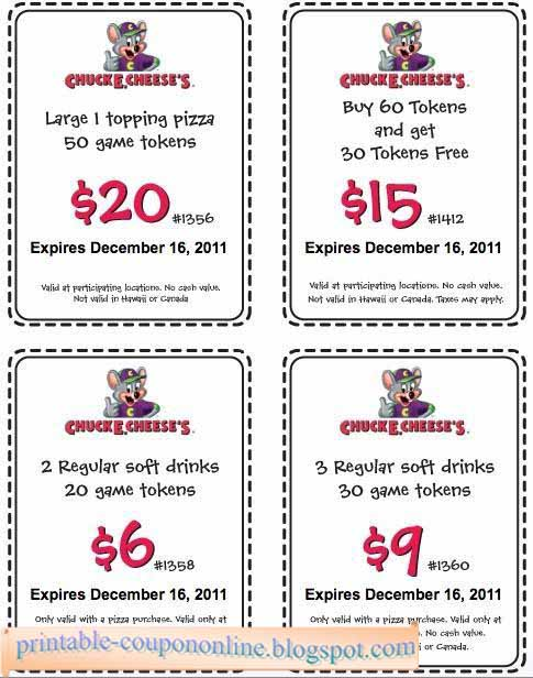 Chuck E Cheese printable coupons July and August savings for tokens, food, drink discounts, win FREE Chuck E Cheese's tickets with online games. What others are saying