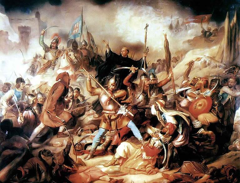 Batalha de Belgrado. São João de Capistrano incentivando os combatentes católicos.
