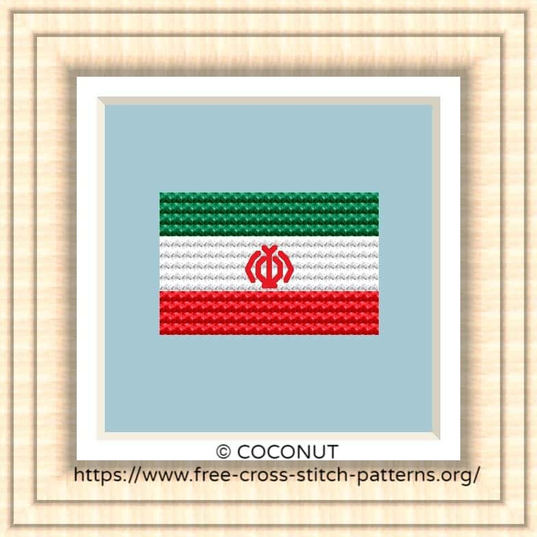 NATIONAL FLAG OF IRAN CROSS STITCH CHART