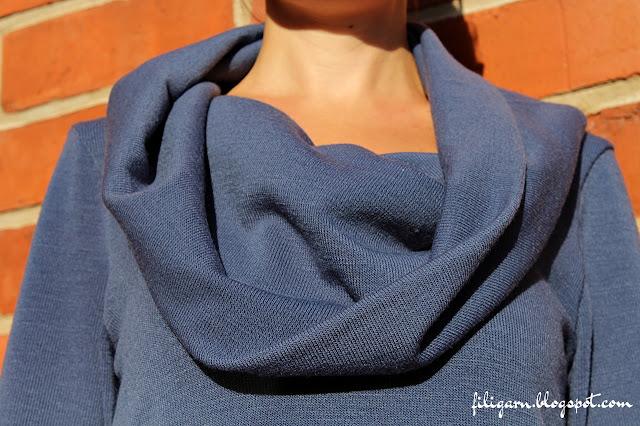 filigarn.blogspot.com - genähtes - Pullover Leara mit Schalkragen